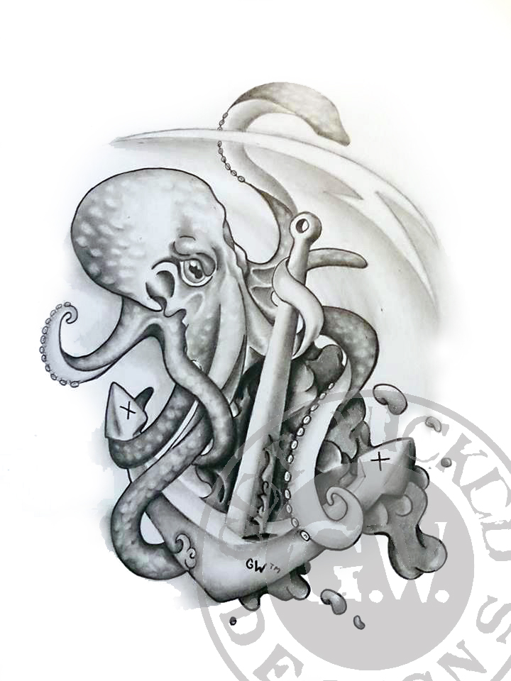 Octopus Tattoo Design BW By Get Wicked Designs