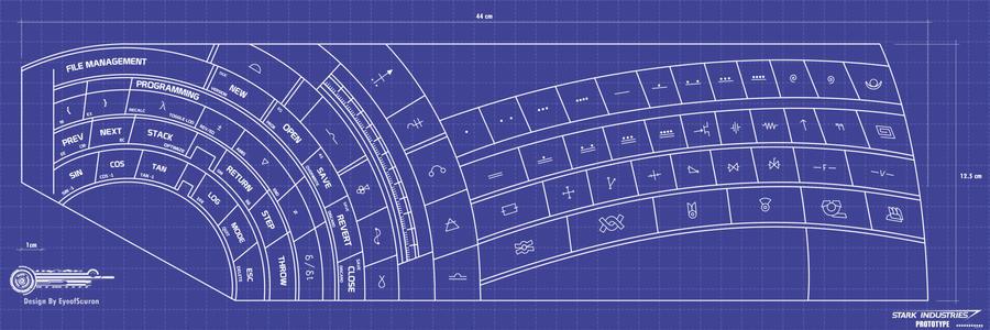 Iron man Digital keyboard blueprints final by EyeofSauron
