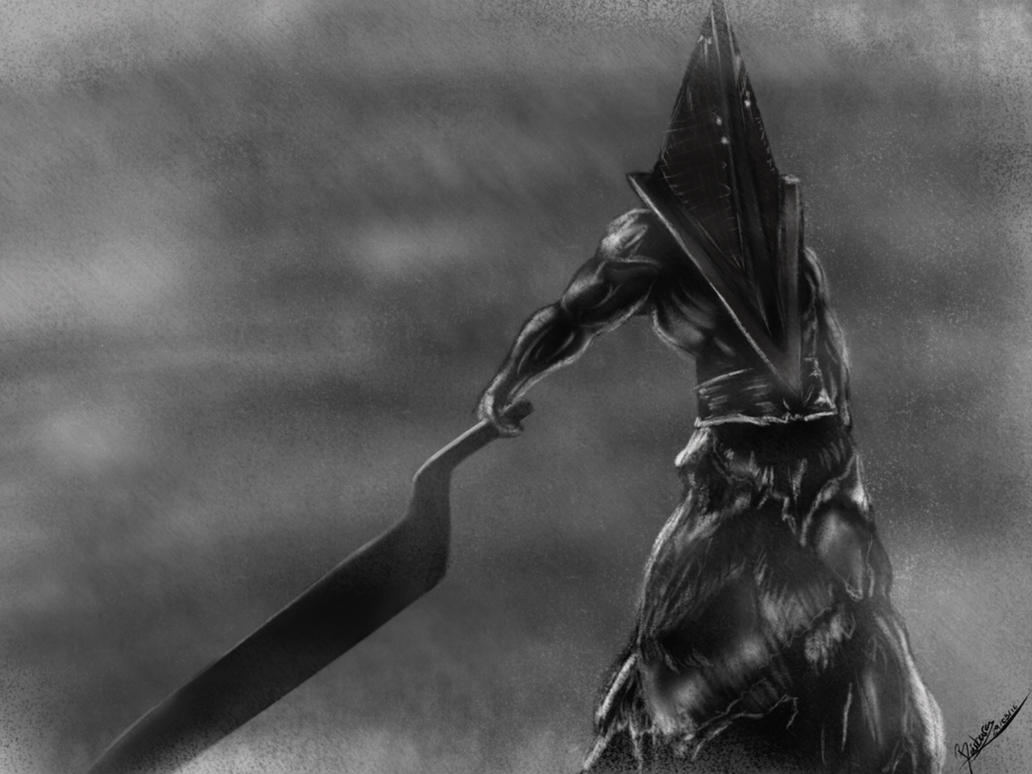 Pyramid Head! Black and white. by Eikonan