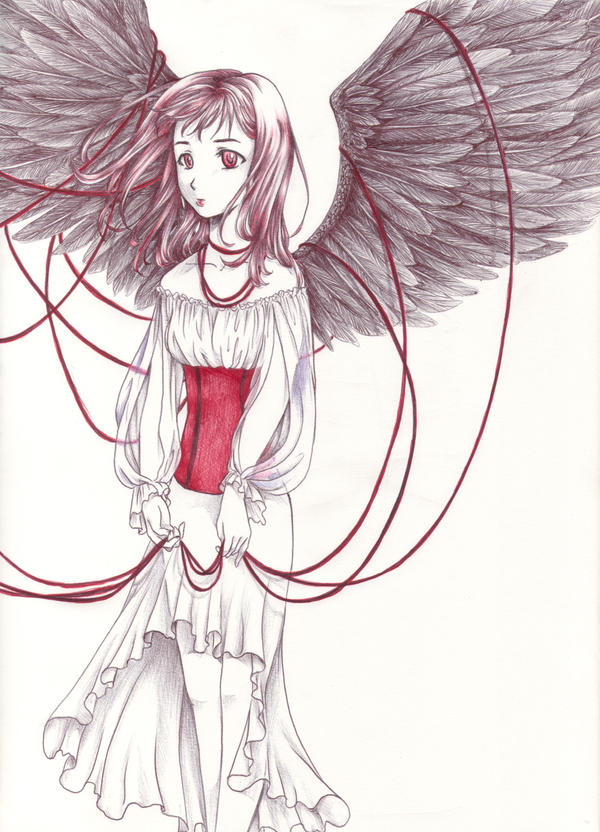 Black Wings and Red Ribbons by Jake-a-Lina