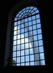Arch through cathedral window by greyrowan