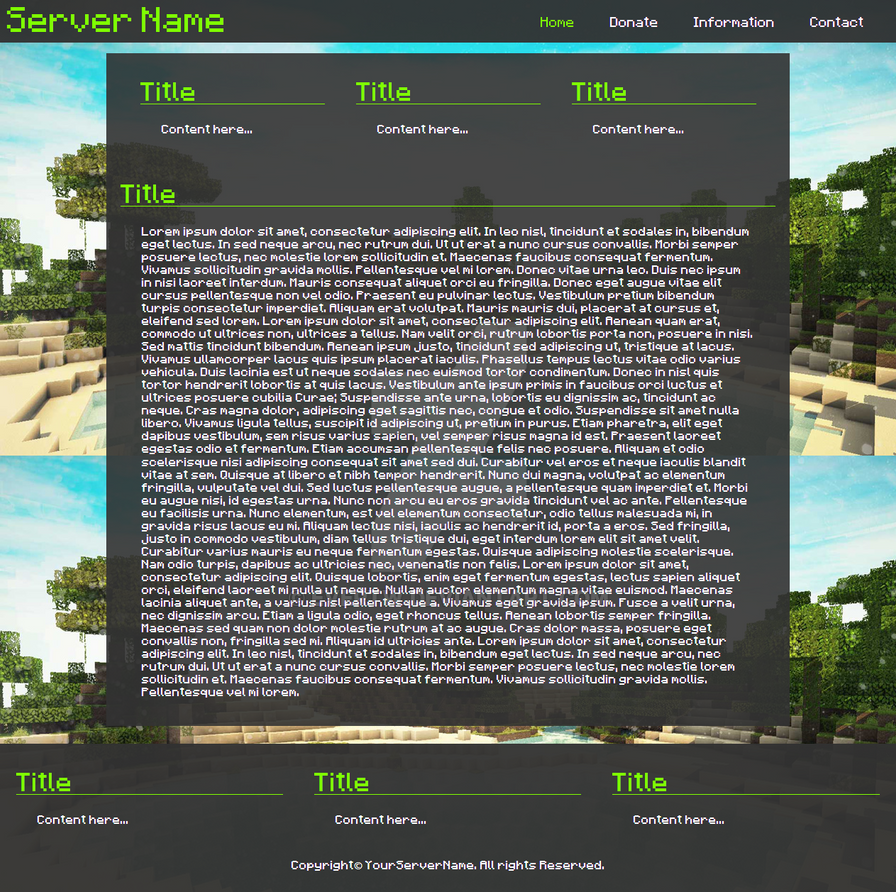 Minecraft Html/Css Template by EvertW on DeviantArt