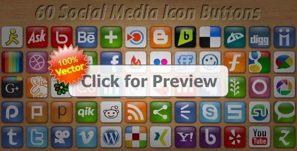 60 Social Media Icon Buttons by flashdo