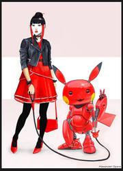 female_cyberpunk_Robo_Pikachu by AlexandrOpara