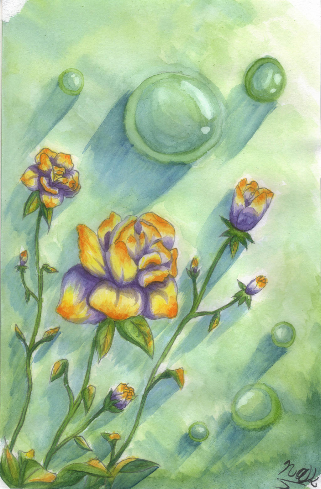 Watercolors#2 Flowers n Bubbles Gimp EDIT by Naks-Ark