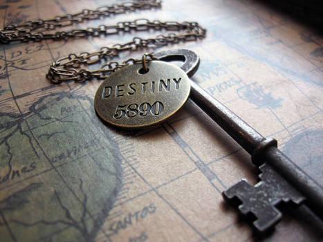Key of Destiny - Skeleton Key Charm Necklace