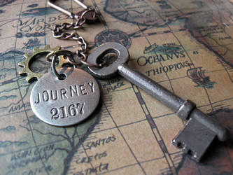Steampunk Journey - Vintage Skeleton Key Keychain by candycrack