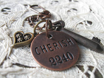 Key of Cherish - Vintage Skeleton Key Keychain by candycrack