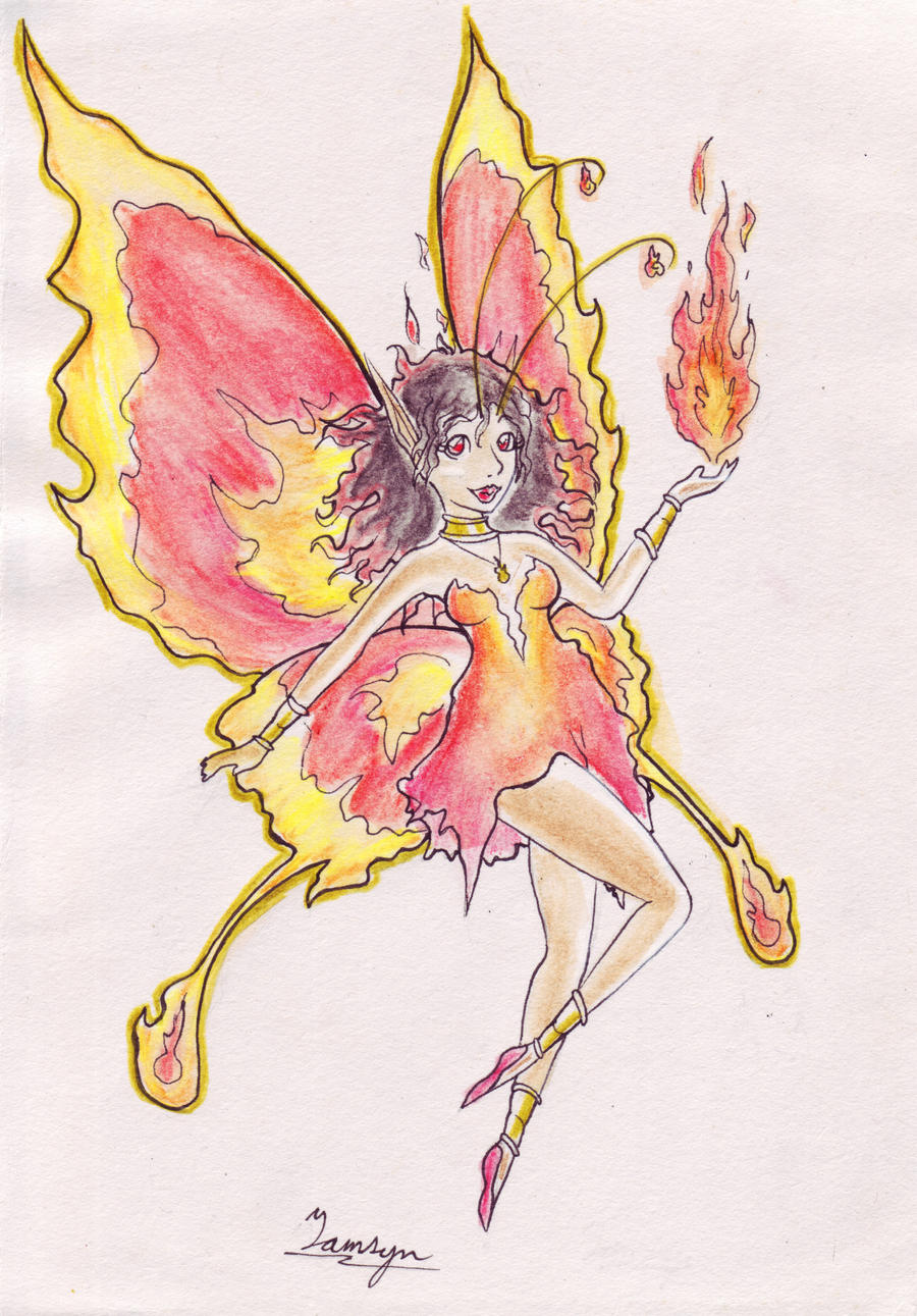 Fire Fairy - Traditional Commission by taalaruhun on DeviantArt