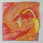 Red Watercolour Dragon