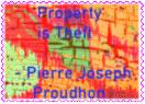 Property is Theft stamp by reddartfrog