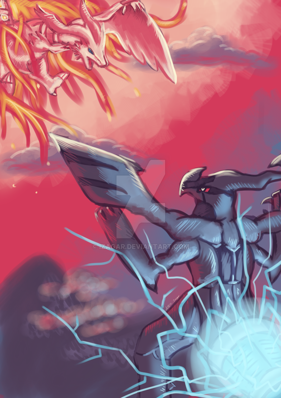 Reshiram Vs. Zekrom by Izagar