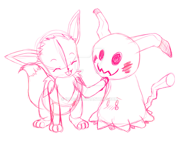 [Commission] Eevee and Mimikyu by Izagar