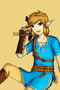 Breath of the Wild Link Eating an Apple