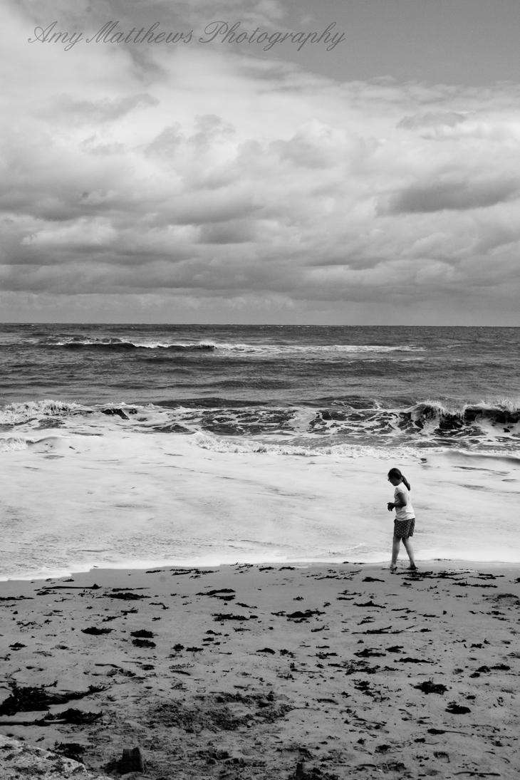 Girl on Scarborough Beach by Amylnm