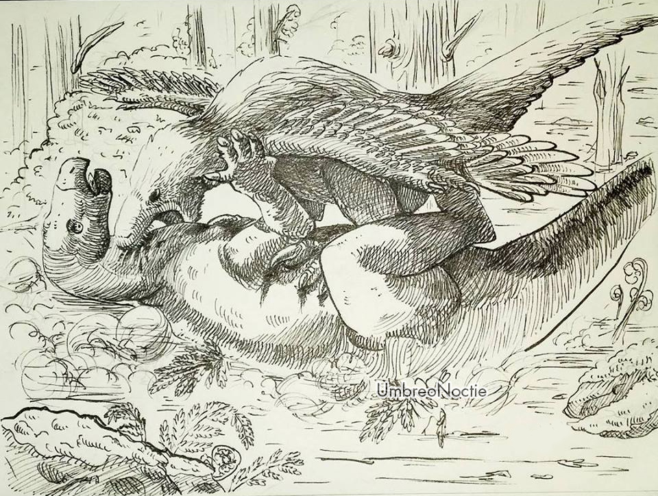 Utahraptor's hunt by UmbreoNoctie