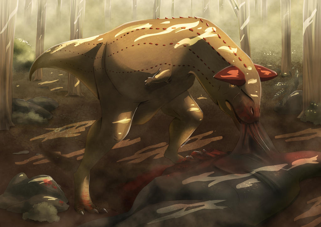 Carnotaurus is having a good dinner by UmbreoNoctie