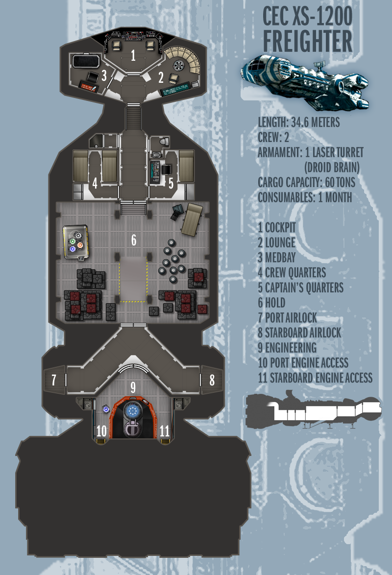 Star Wars Ship Floor Plans Part - 20: ... Boomerangmouth CEC XS-1200 Freighter By Boomerangmouth