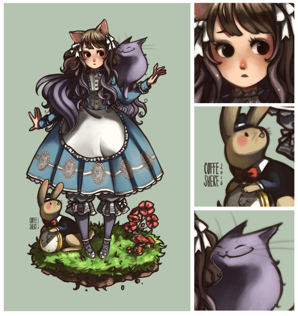 Kitty Alice  in Wonderland  Commission by Coffeshere