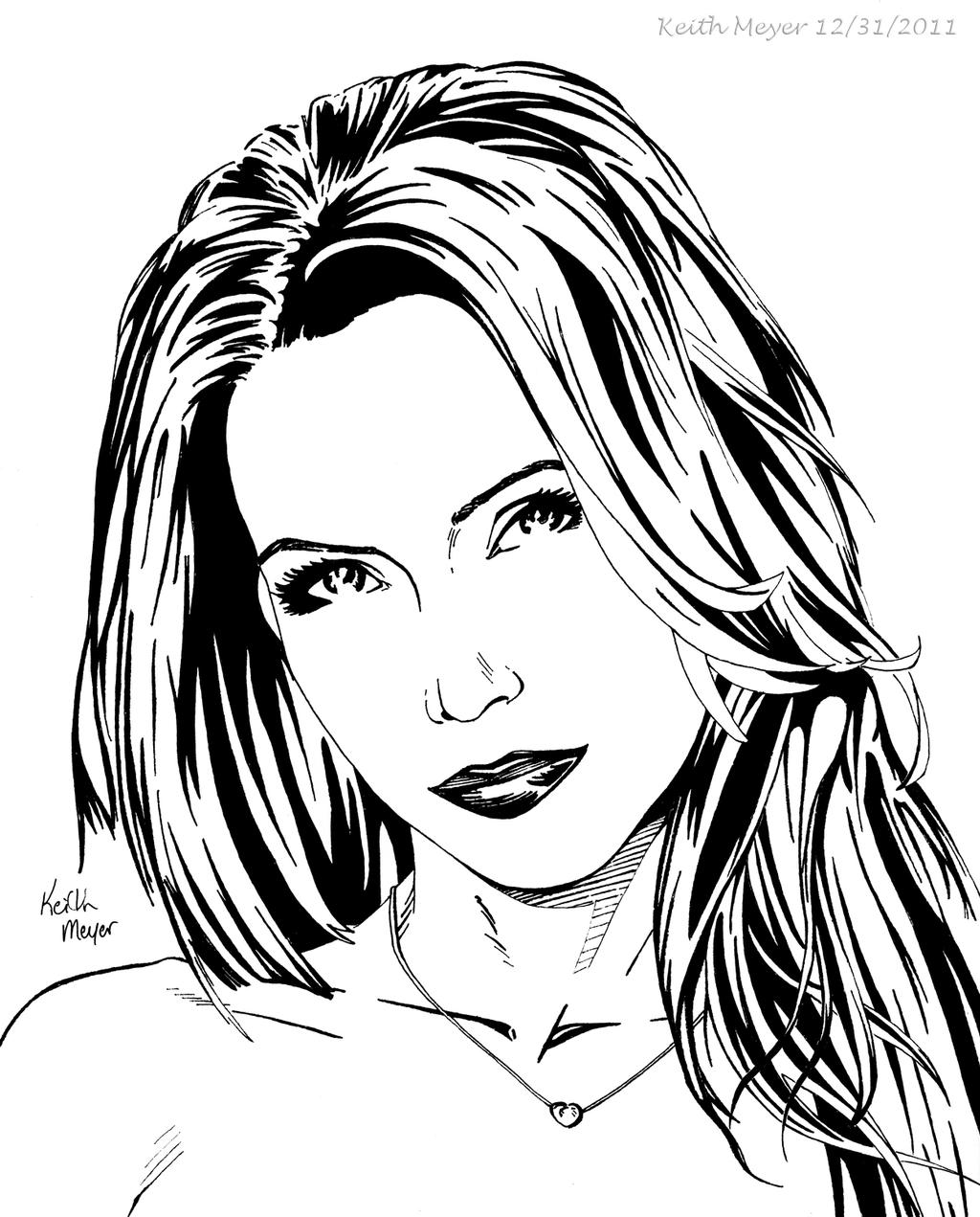 Line Drawing Female Face : Female portrait ink by keithmeyerart on deviantart