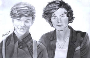 Louis Tomlinson and harry styles from 1D by naawaal