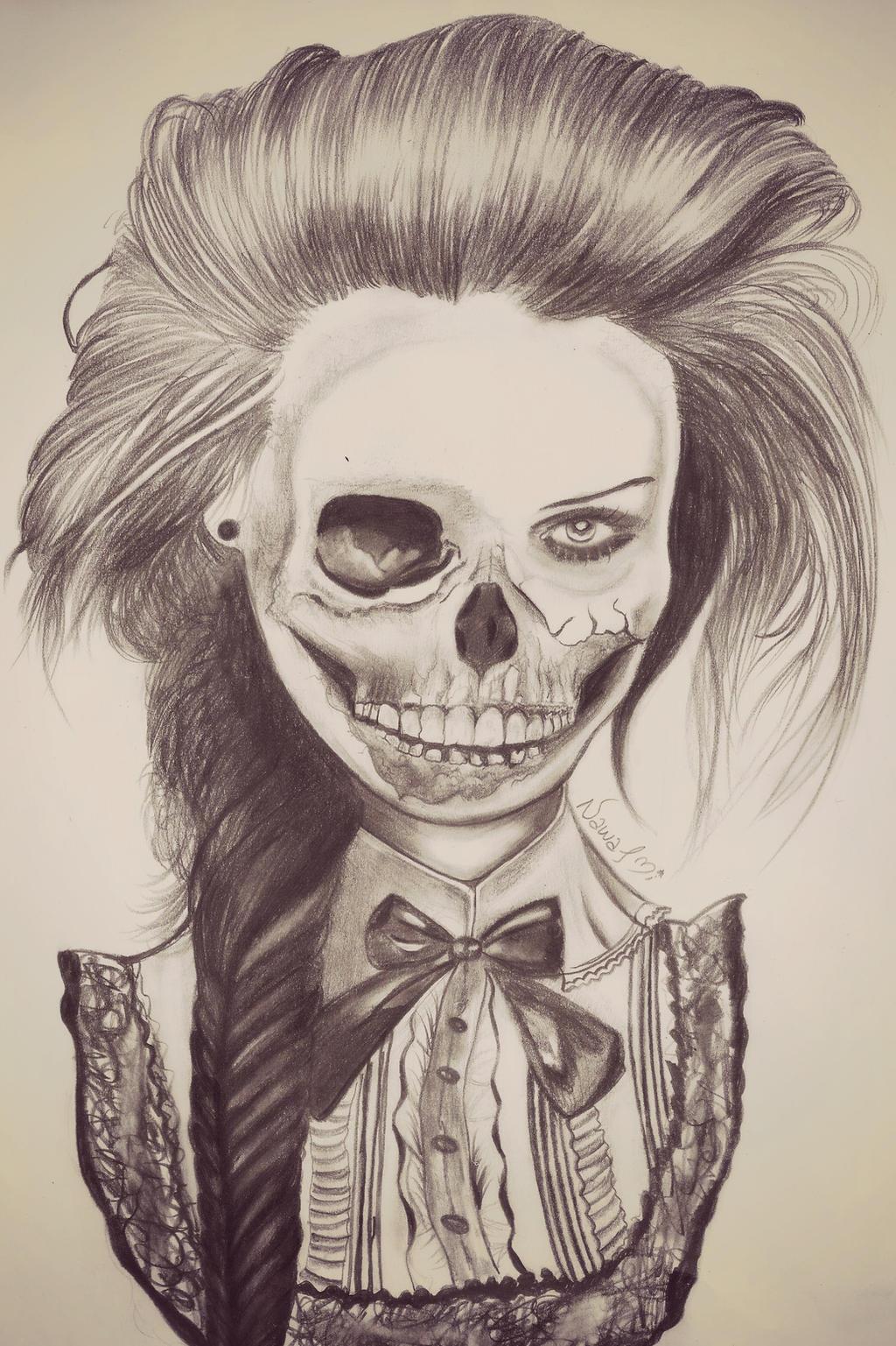 half skull face by naawaal