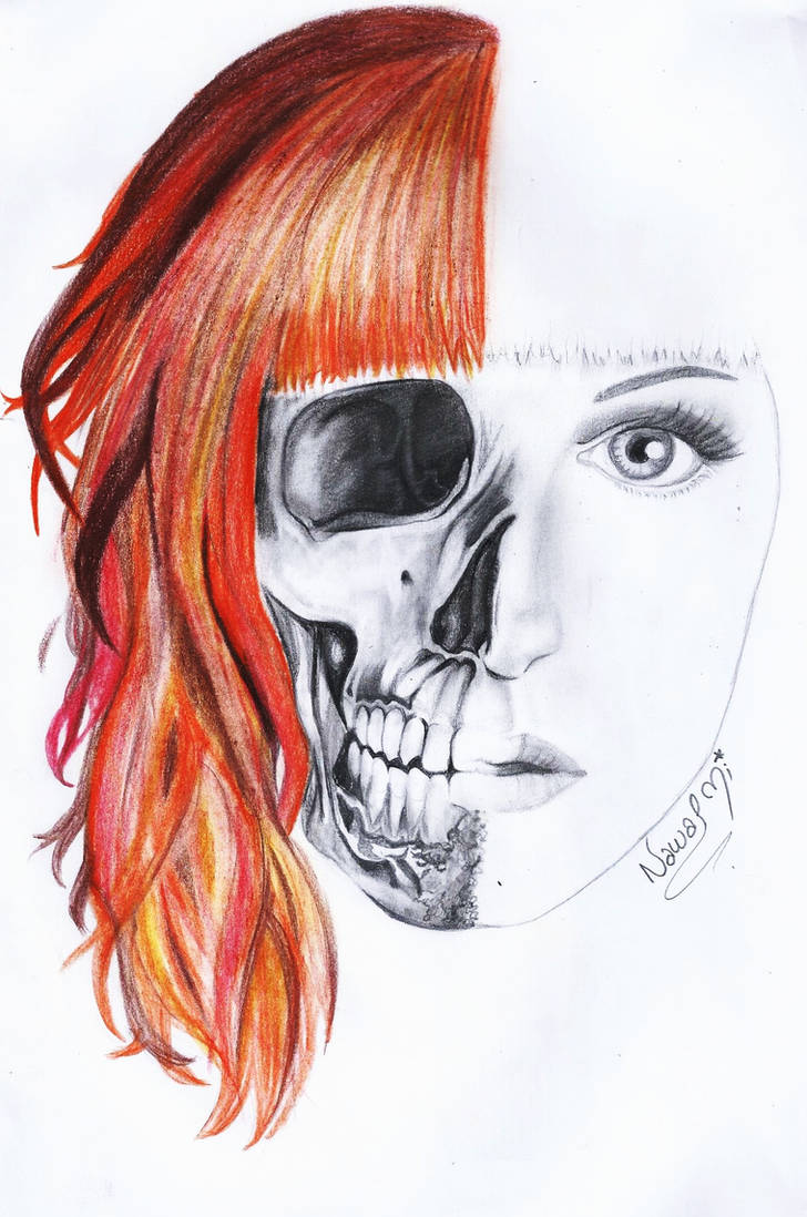 Half Skull Face Drawing Half Hair Colored By Naawaal On Deviantart