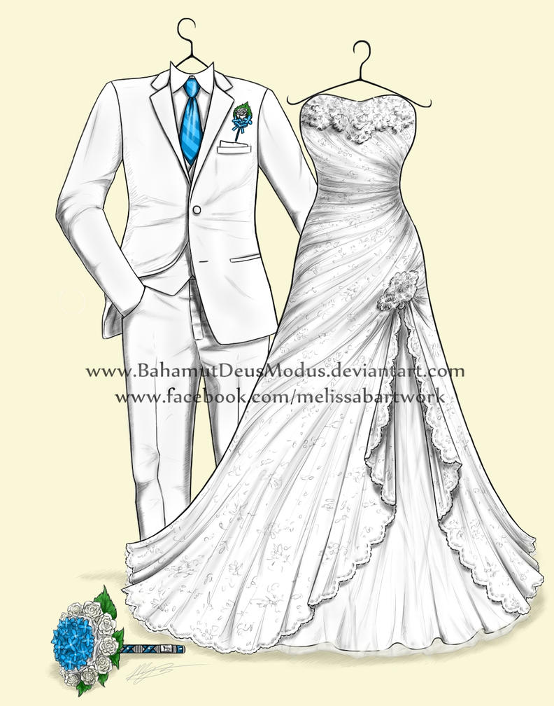 Wedding dress drawing, Rebecca's by BahamutDeusModus