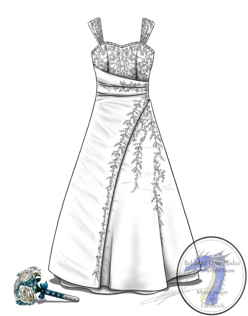 Wedding Dress Drawing: Kelsi's by BahamutDeusModus