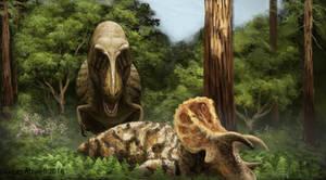 Tyrannosaurus and Triceratops