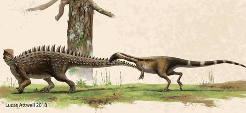 Emausaurus and ceratosaur
