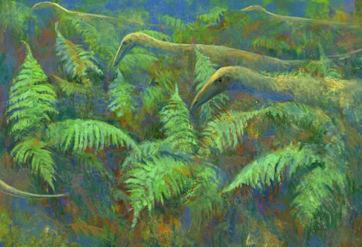 Coelophysis group walking through ferns