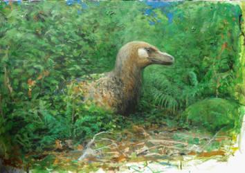 Resting dromeosaur