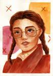 The Girl in Metal Frame Glasses