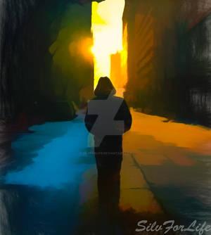 Men walking on empty street - Paint