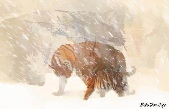 Snowtiger on Winterlandscape - Paint
