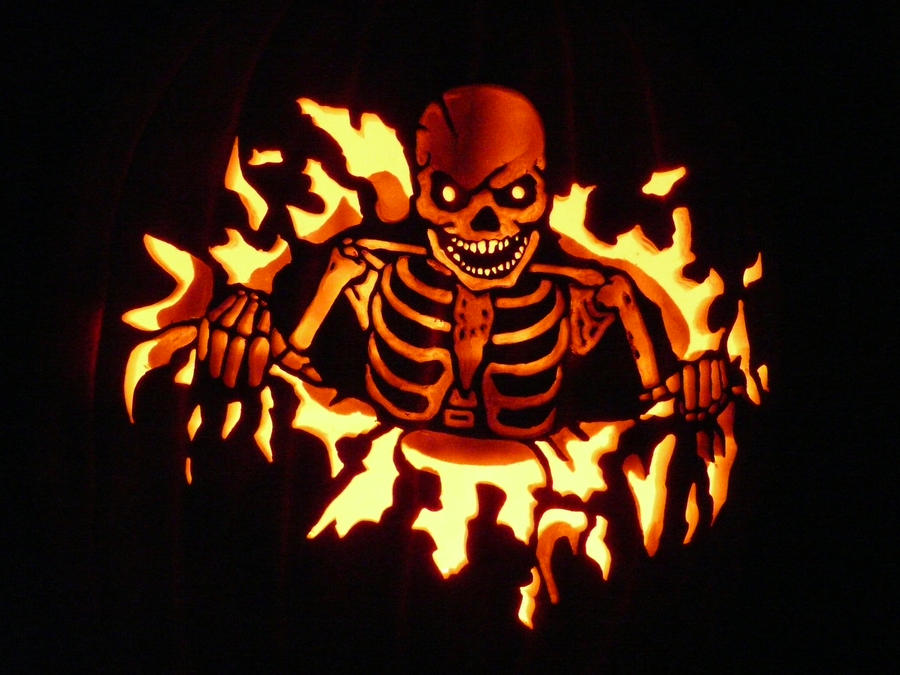 skeleton pumpkin by kenklinker on deviantart