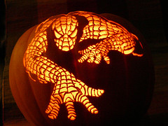 Spiderman Pumpkin by kenklinker