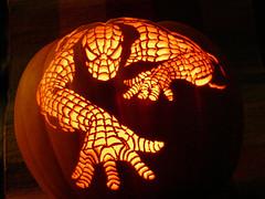 Spiderman Pumpkin by kenklinker