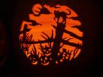 Halloween Scene on a pumpkin