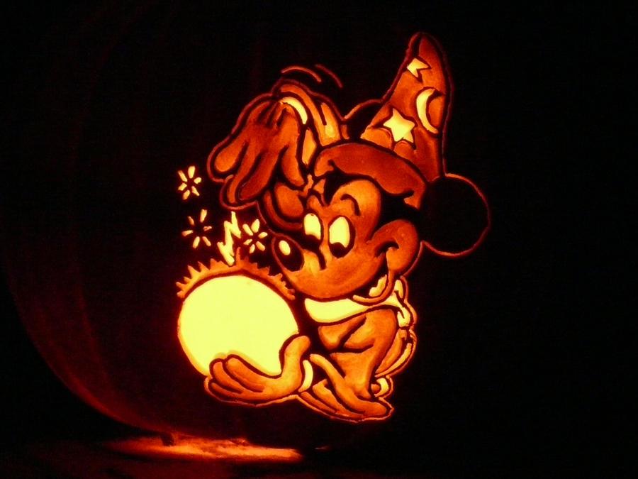 mickey mouse vampire pumpkin template - sorcerers apprentice pumpkin by kenklinker on deviantart