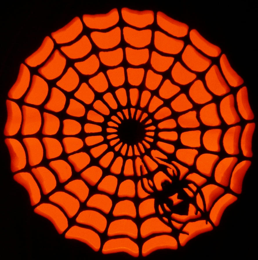 Spider web pumpkin by kenklinker