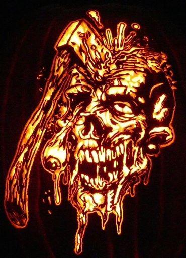 Zombie pattern by stoneykins.com on a foam pumpkin by kenklinker