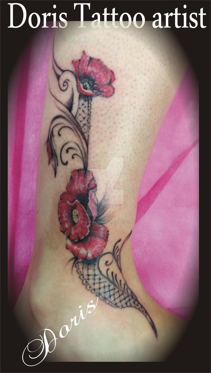Poppy Flower Tattoo Lace By Doris Tattoo By Doristattoo On Deviantart