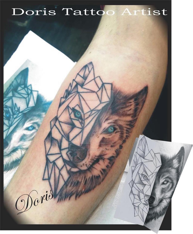 geometric wolf tattoo by doristattoo on DeviantArt