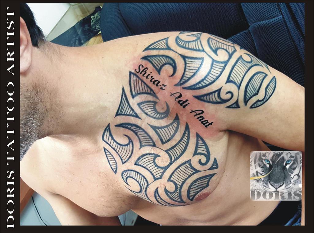 96a90dc9f maori arm chest tattoo by doristattoo on DeviantArt