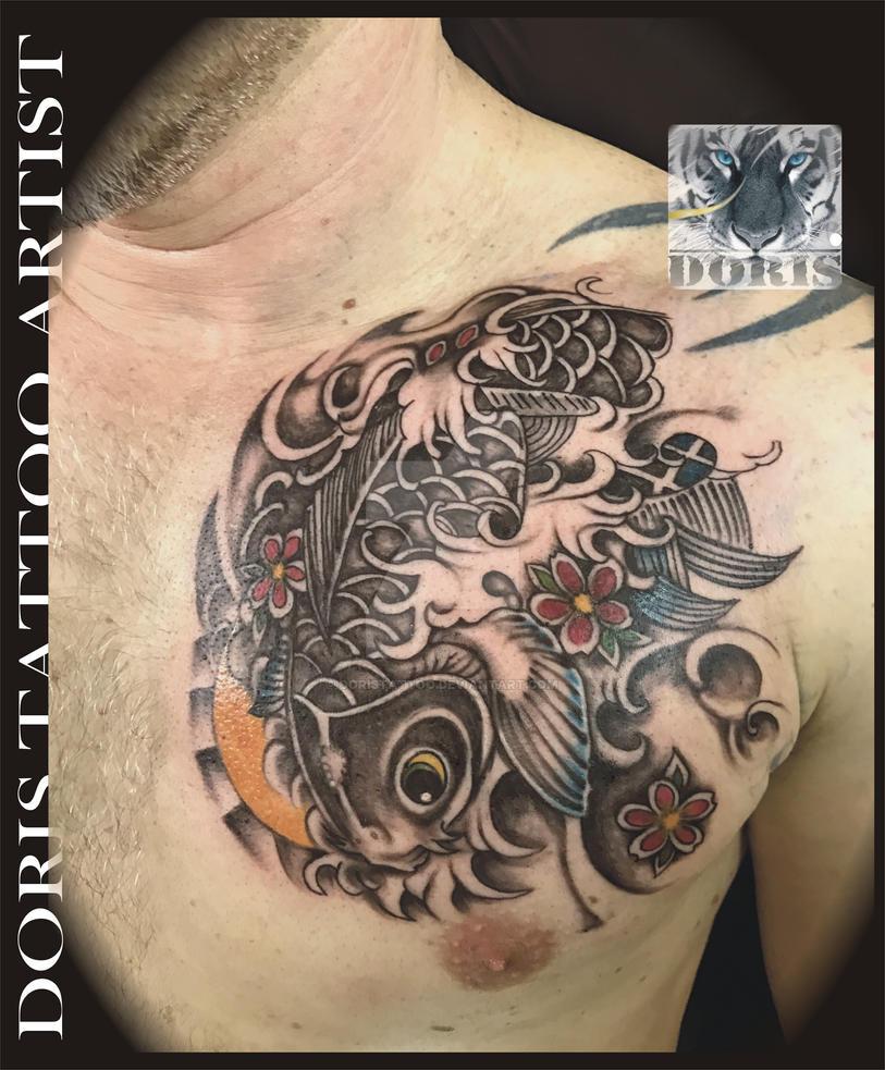 Mike S Koi Sleeve Chest Panel Unfinished Big Jpg 2400 3200: Koi Chest Tattoo By Doristattoo On DeviantArt