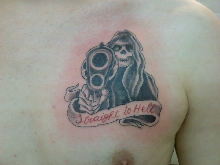 Straight to Hell - chest tattoo