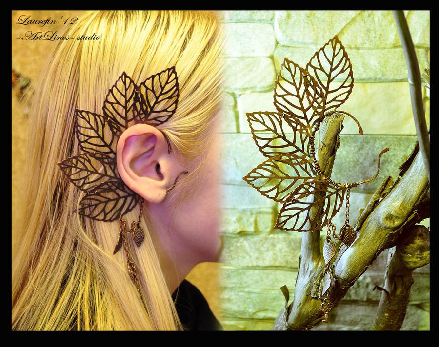 Copper leaves earcuff by Laurefin-Estelinion