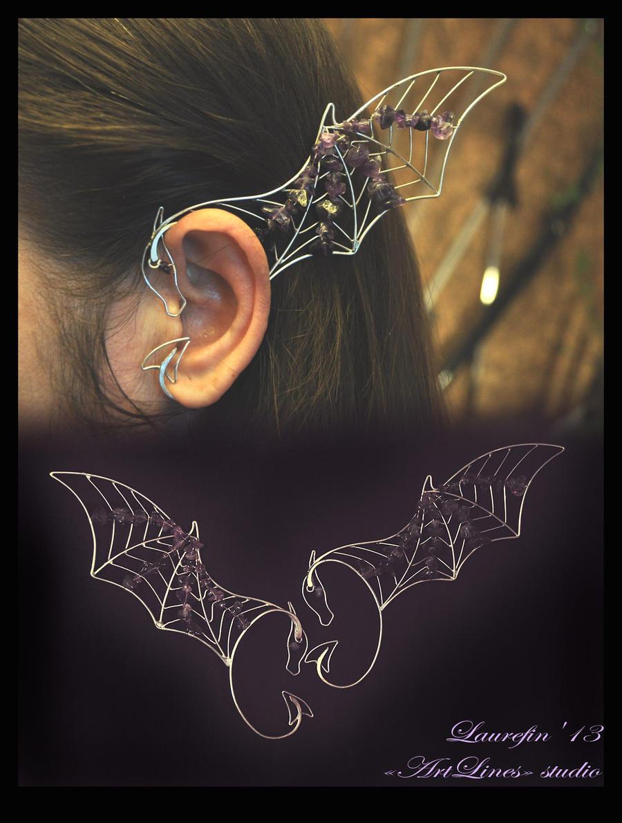 Amethyste Dragon - earcuffs by Laurefin-Estelinion